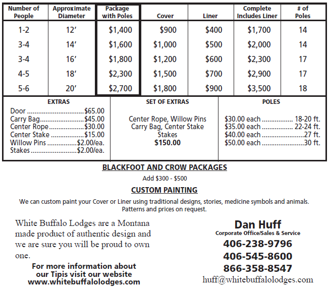 Pricing Chart for White Buffalo Lodges